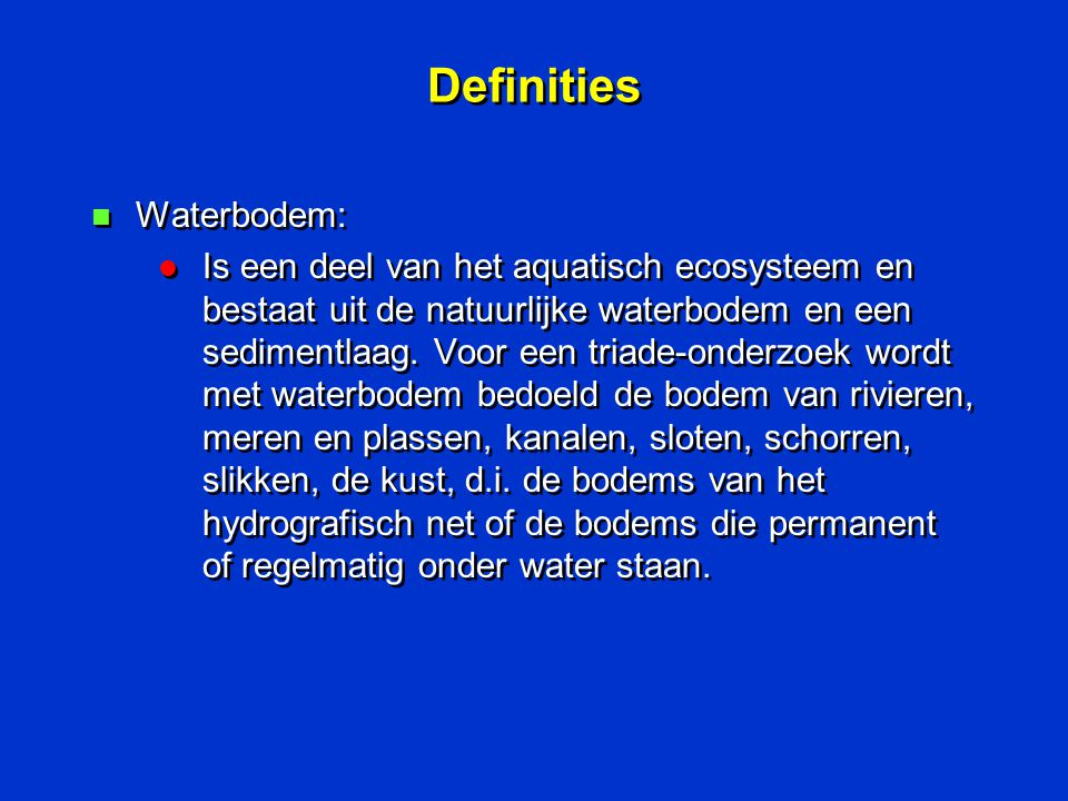 Definities Waterbodem: