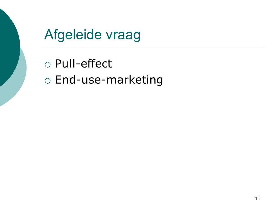 Afgeleide vraag Pull-effect End-use-marketing