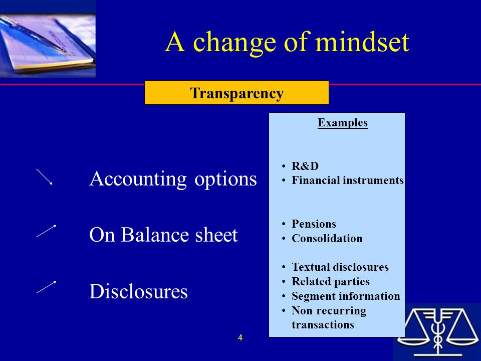 A change of mindset Accounting options On Balance sheet Disclosures