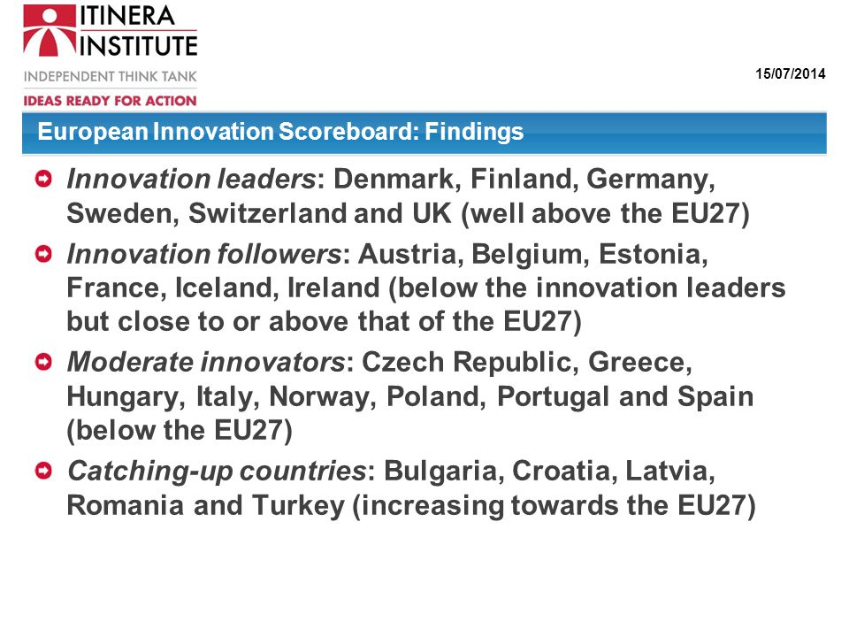 European Innovation Scoreboard: Findings
