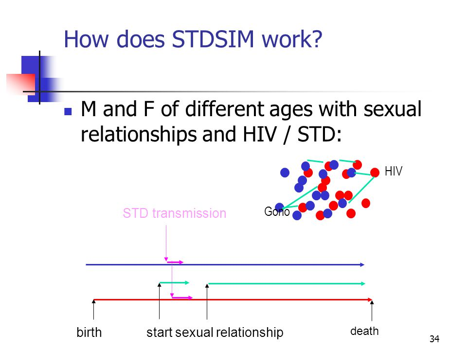 How does STDSIM work M and F of different ages with sexual relationships and HIV / STD: HIV. STD transmission.