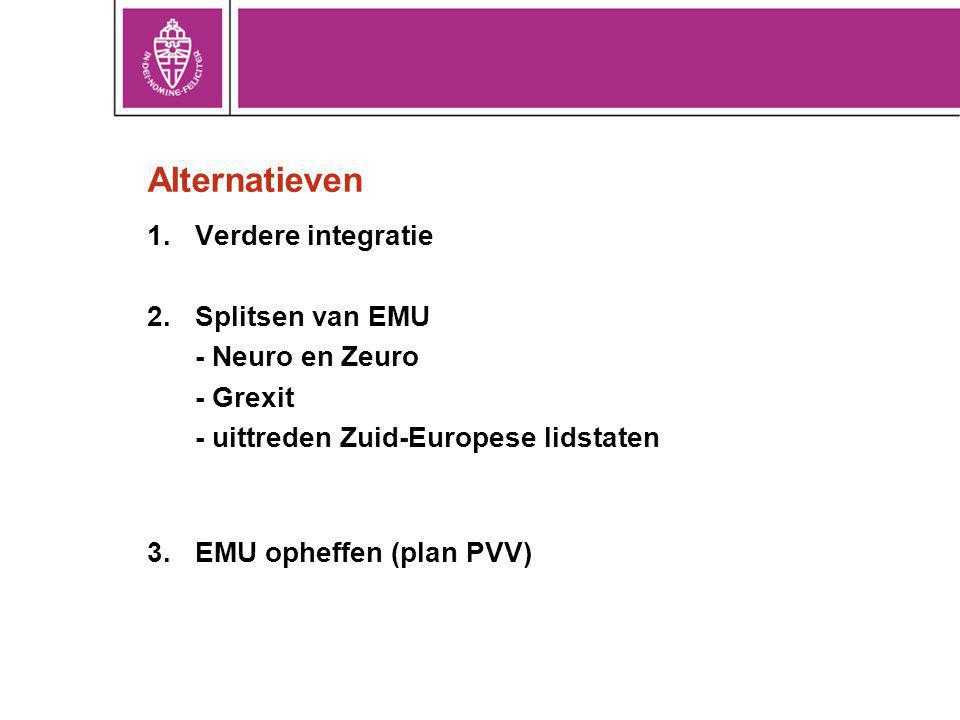 Alternatieven Verdere integratie Splitsen van EMU - Neuro en Zeuro