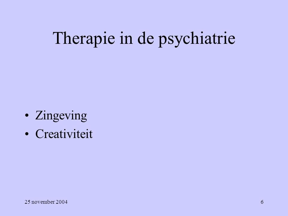 Therapie in de psychiatrie