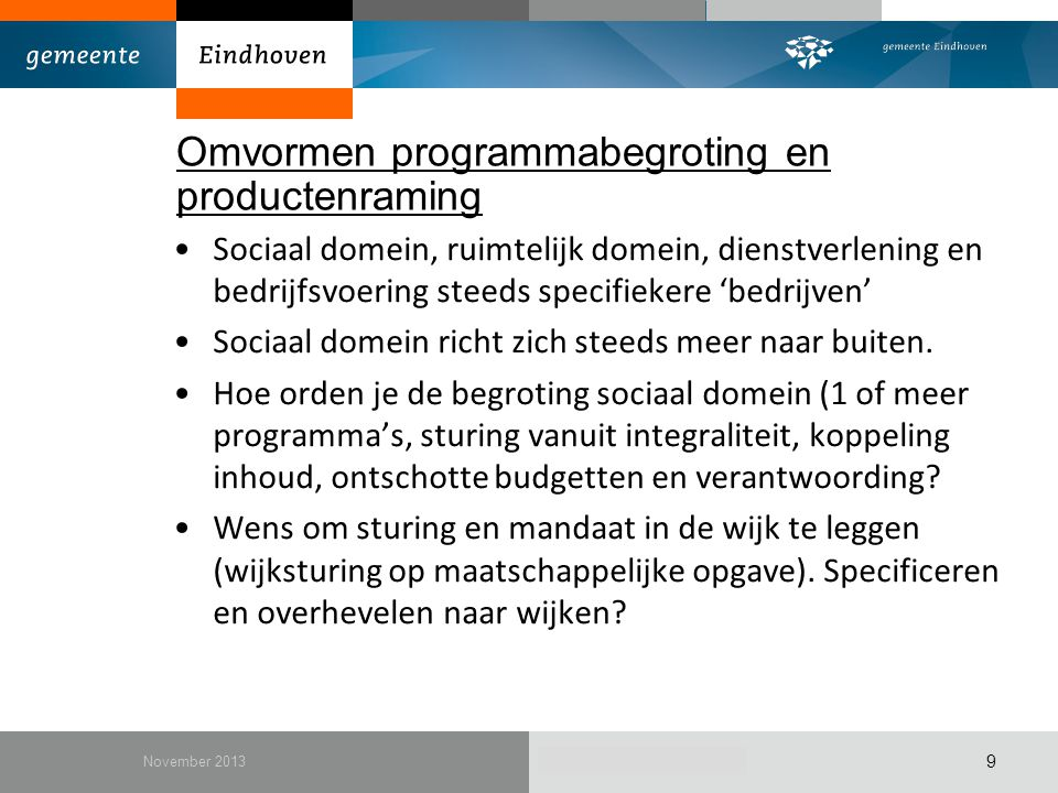 Omvormen programmabegroting en productenraming