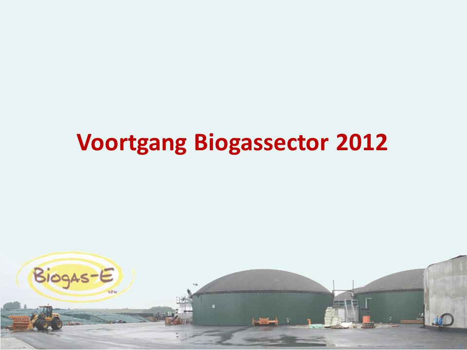 Voortgang Biogassector 2012