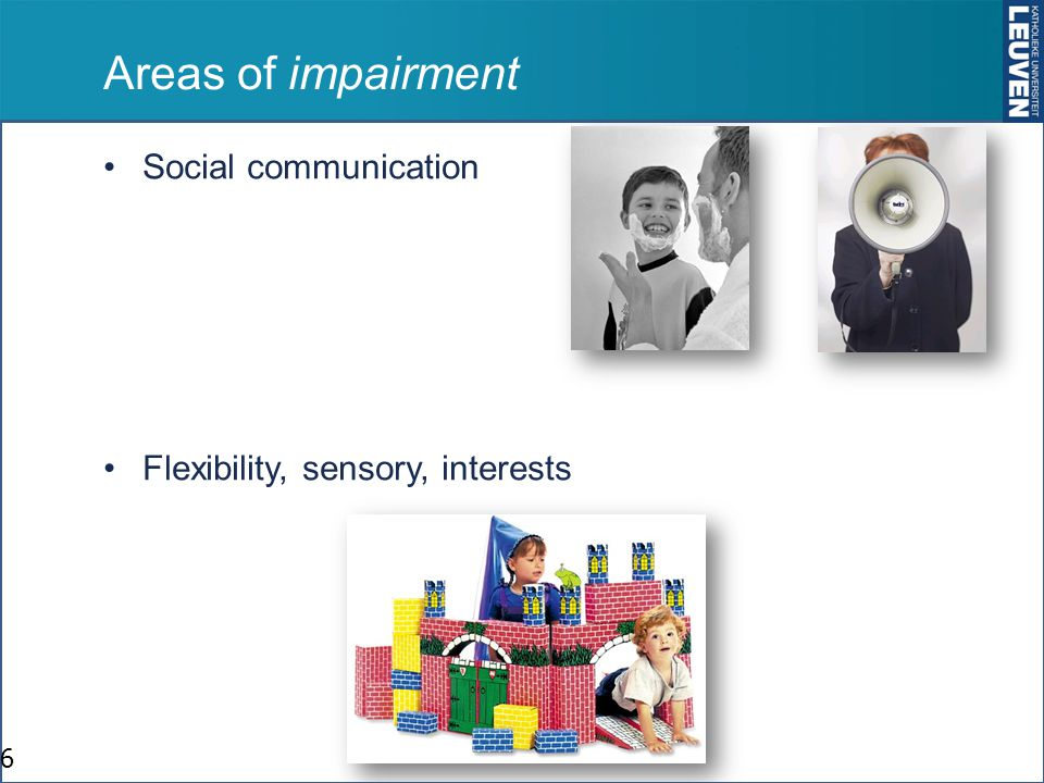 Areas of impairment Social communication