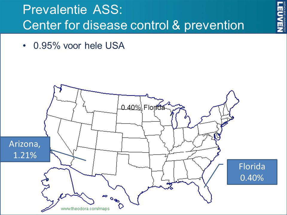 Prevalentie ASS: Center for disease control & prevention