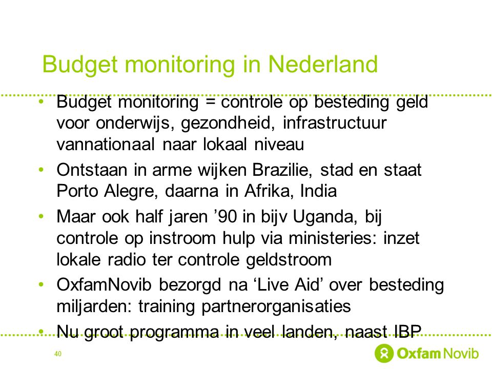 Budget monitoring in Nederland