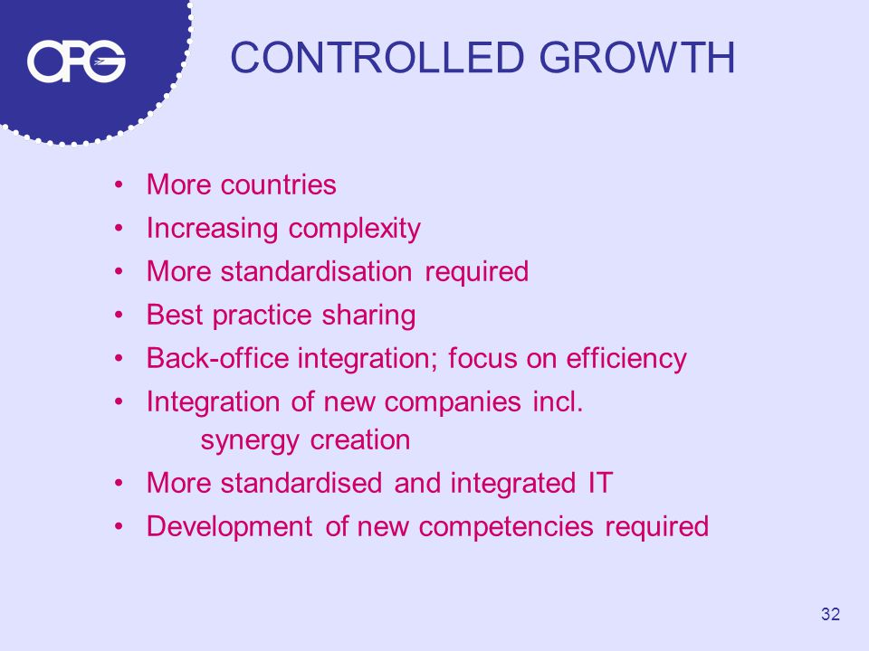 CONTROLLED GROWTH More countries Increasing complexity