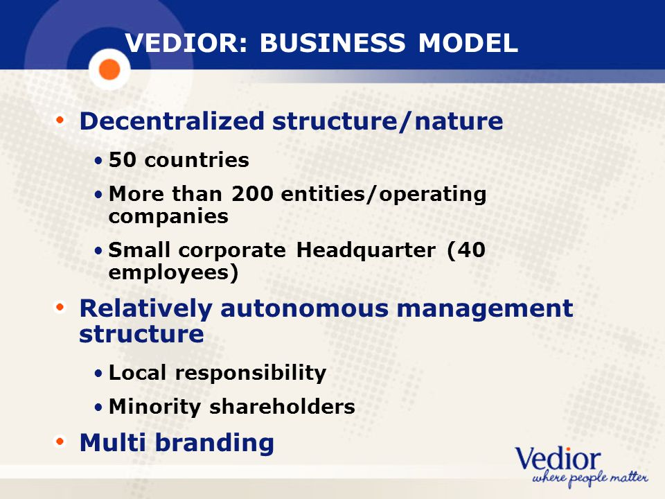 VEDIOR: BUSINESS MODEL
