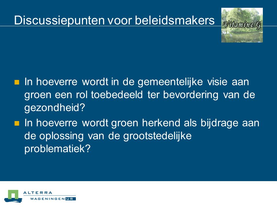 Discussiepunten voor beleidsmakers