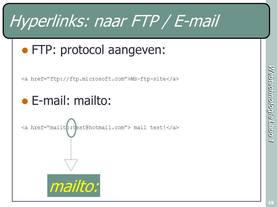 Hyperlinks: naar FTP / E-mail