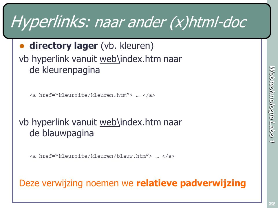 Hyperlinks: naar ander (x)html-doc