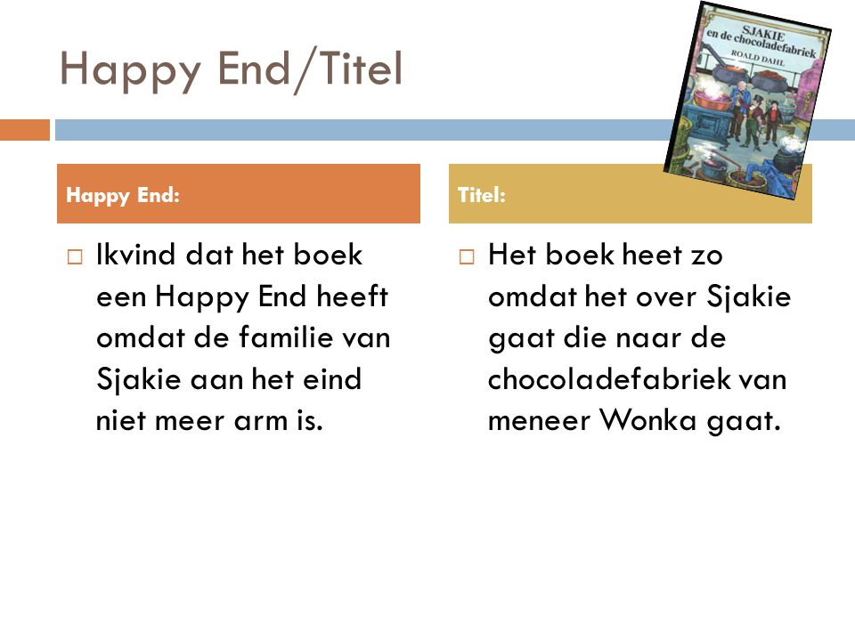 Happy End/Titel Happy End: Titel: Ikvind dat het boek een Happy End heeft omdat de familie van Sjakie aan het eind niet meer arm is.