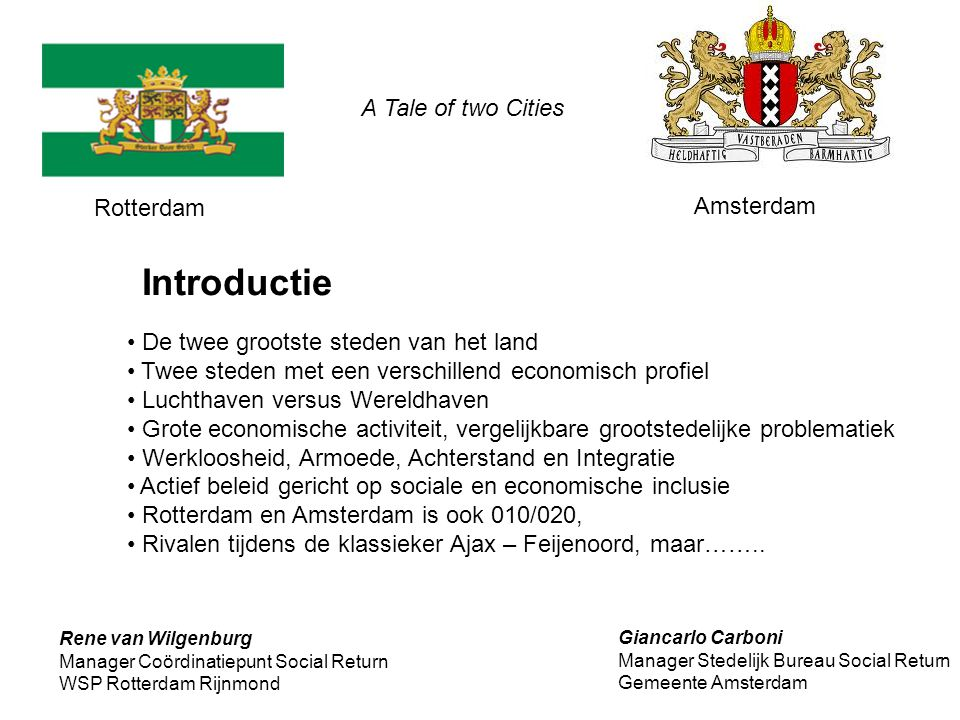 Introductie A Tale of two Cities Rotterdam Amsterdam