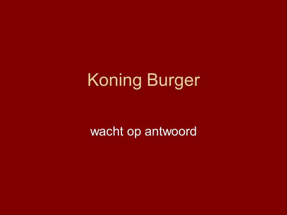 Koning Burger wacht op antwoord