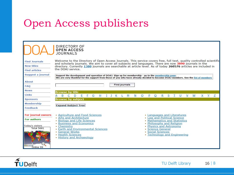 Open Access publishers