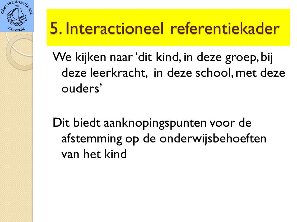 5. Interactioneel referentiekader
