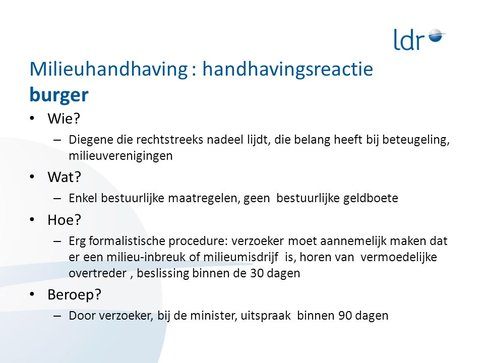 Milieuhandhaving : handhavingsreactie burger