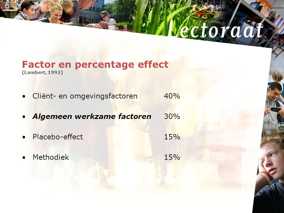Factor en percentage effect (Lambert, 1992)