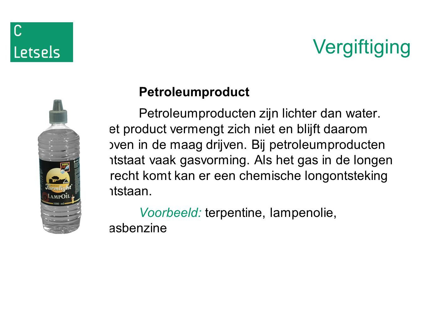Vergiftiging Petroleumproduct