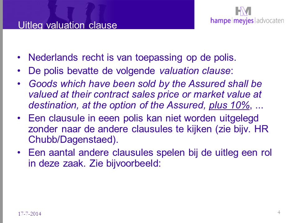 Uitleg valuation clause
