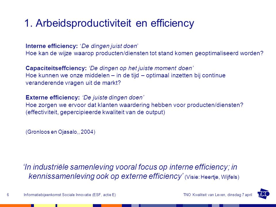 1. Arbeidsproductiviteit en efficiency