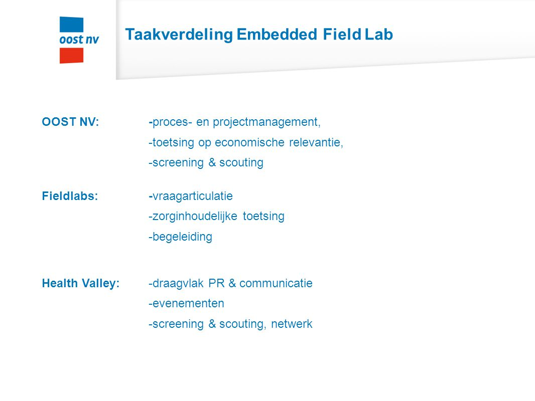 Taakverdeling Embedded Field Lab