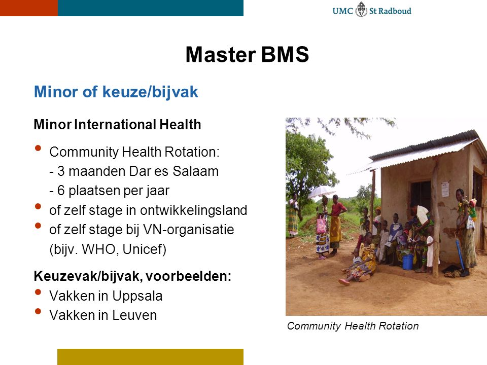 Master BMS Minor of keuze/bijvak Minor International Health