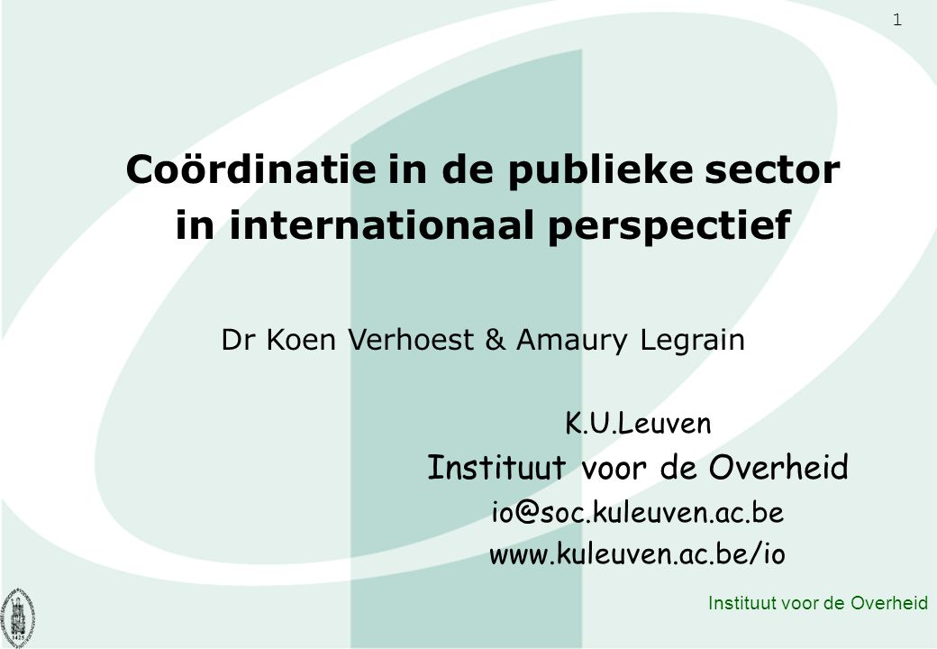 Coördinatie in de publieke sector in internationaal perspectief