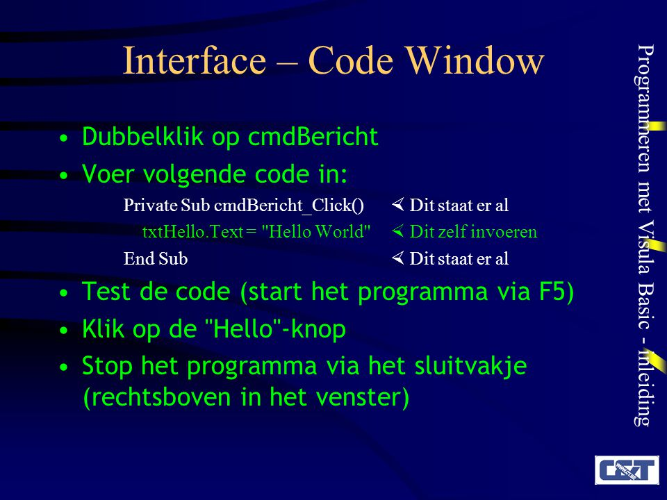 Interface – Code Window