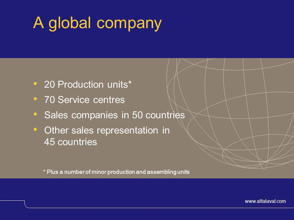 A global company 20 Production units* 70 Service centres