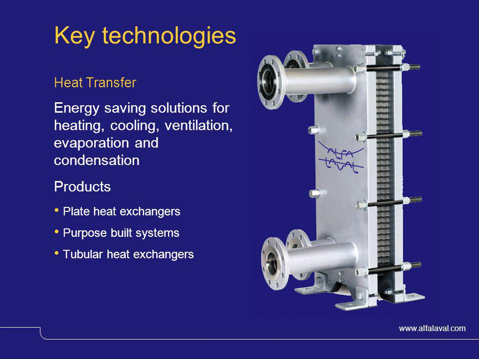 Key technologies Heat Transfer. Energy saving solutions for heating, cooling, ventilation, evaporation and condensation.