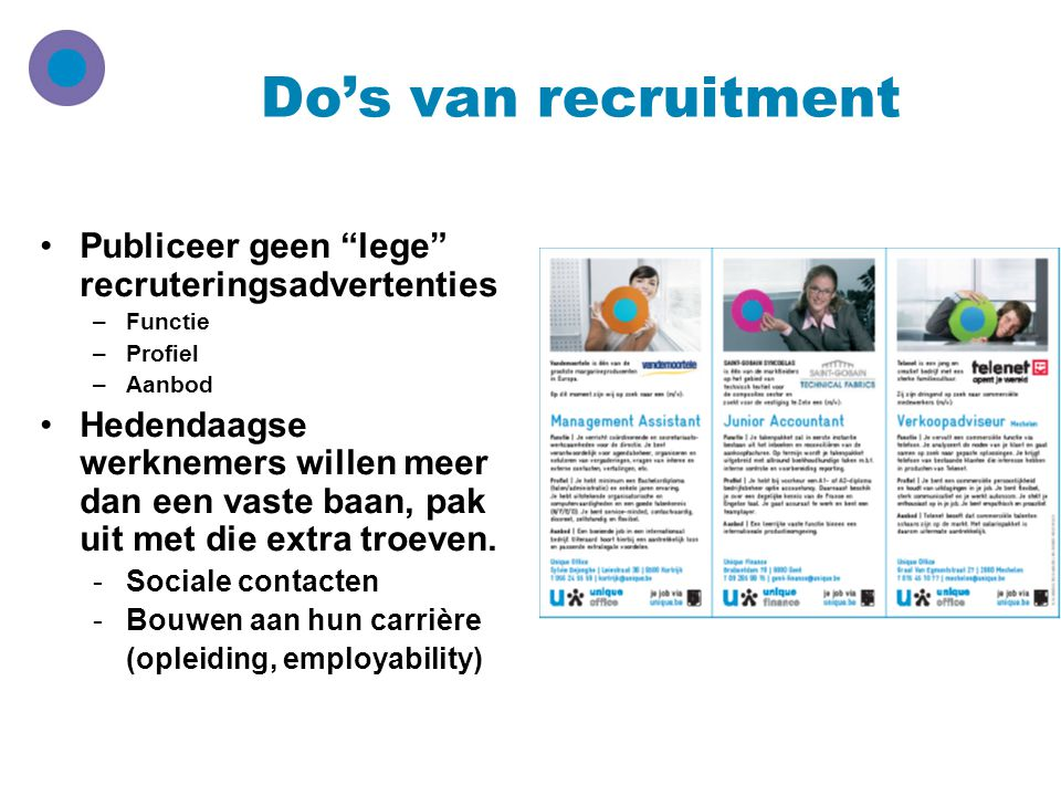 Do's van recruitment Publiceer geen lege recruteringsadvertenties