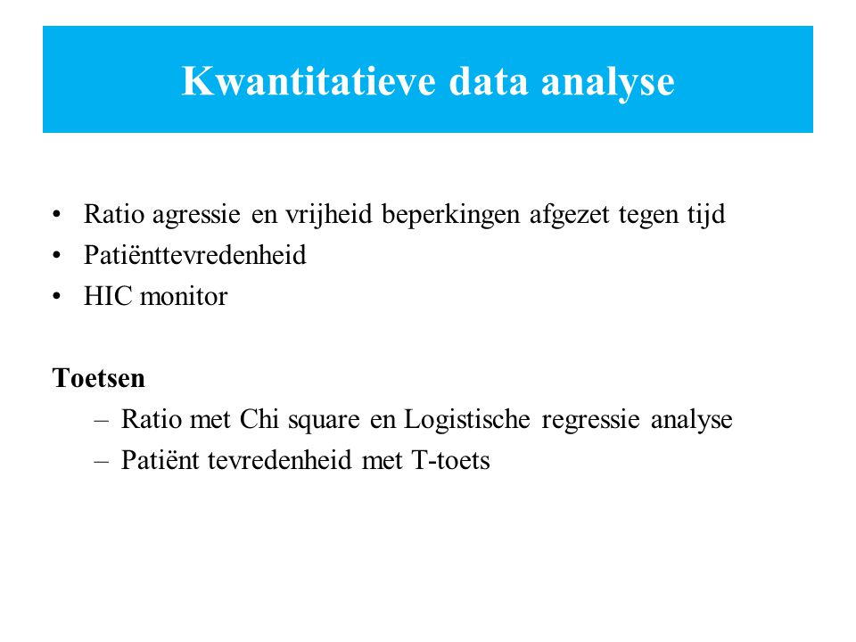 Kwantitatieve data analyse