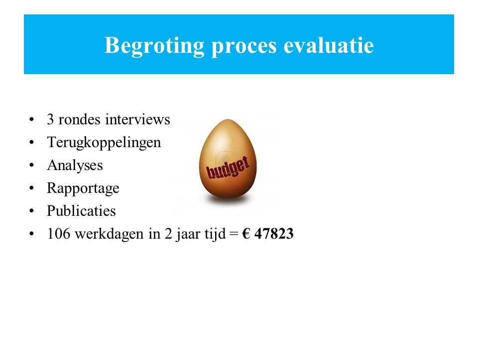 Begroting proces evaluatie