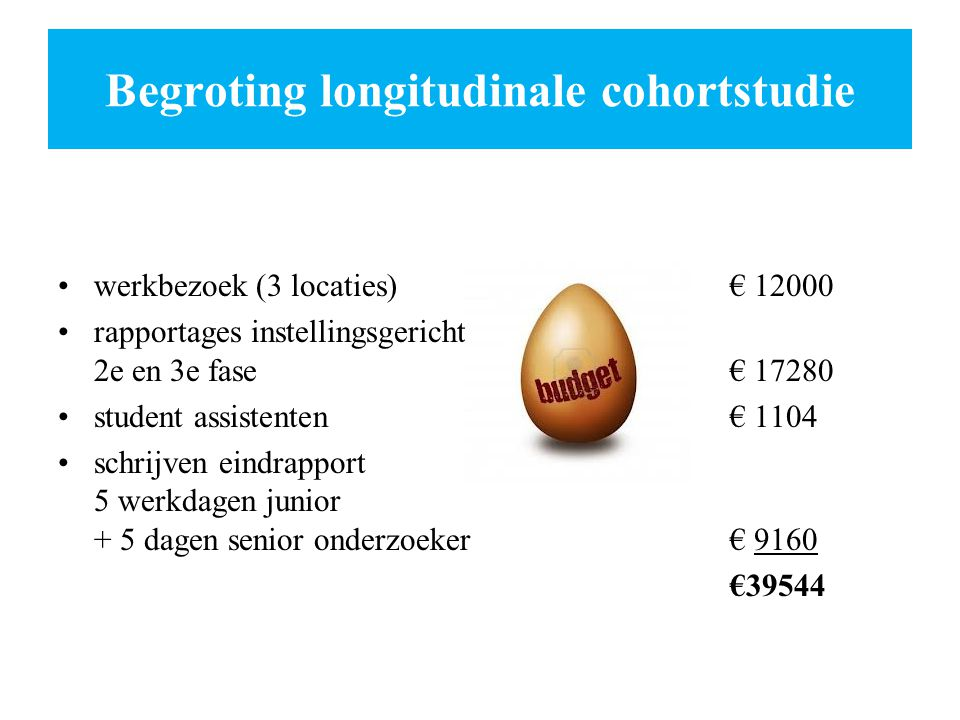 Begroting longitudinale cohortstudie