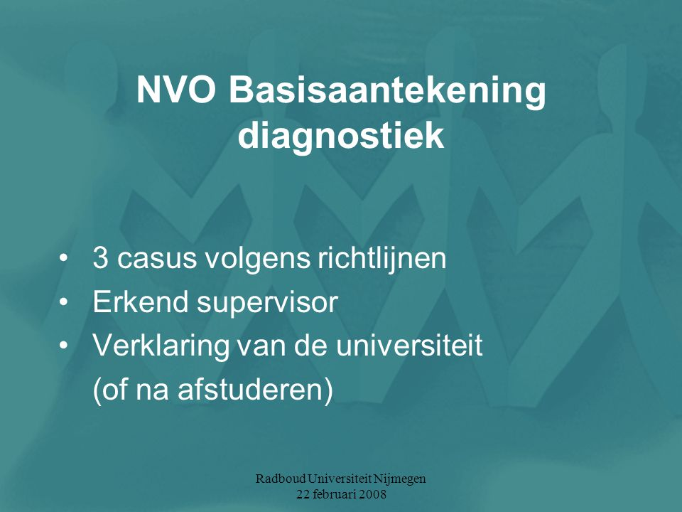 NVO Basisaantekening diagnostiek