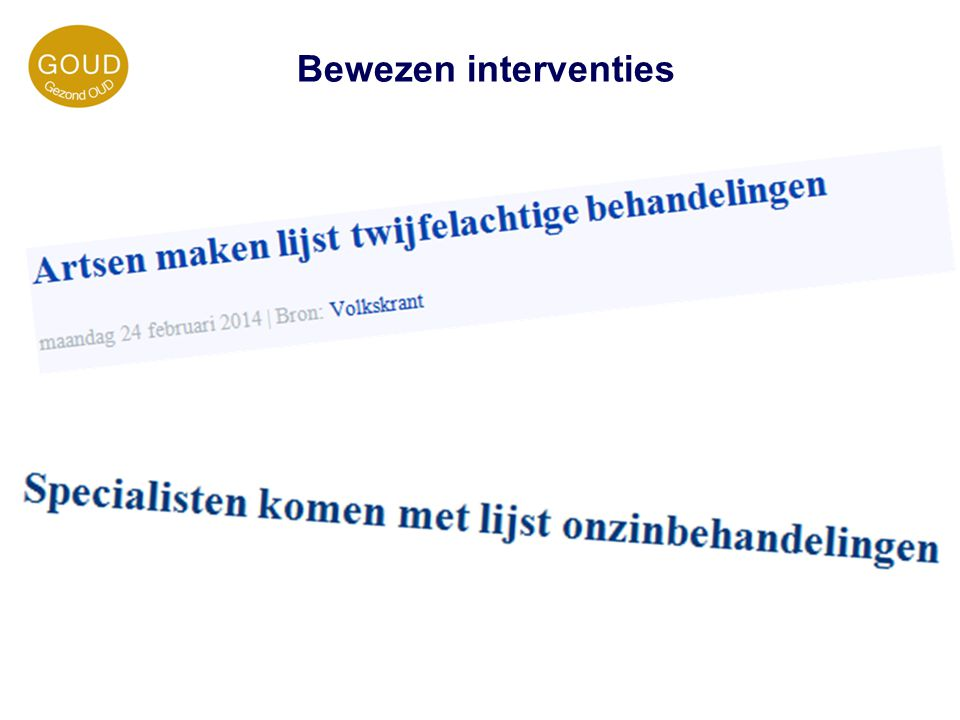 Bewezen interventies