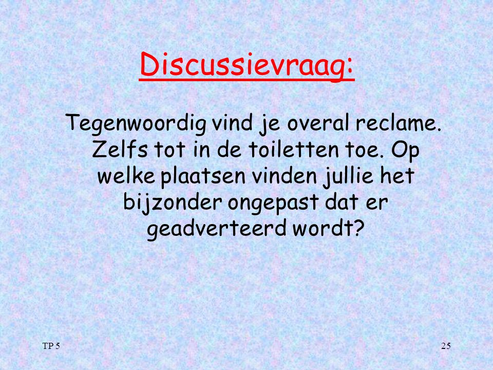 Discussievraag: