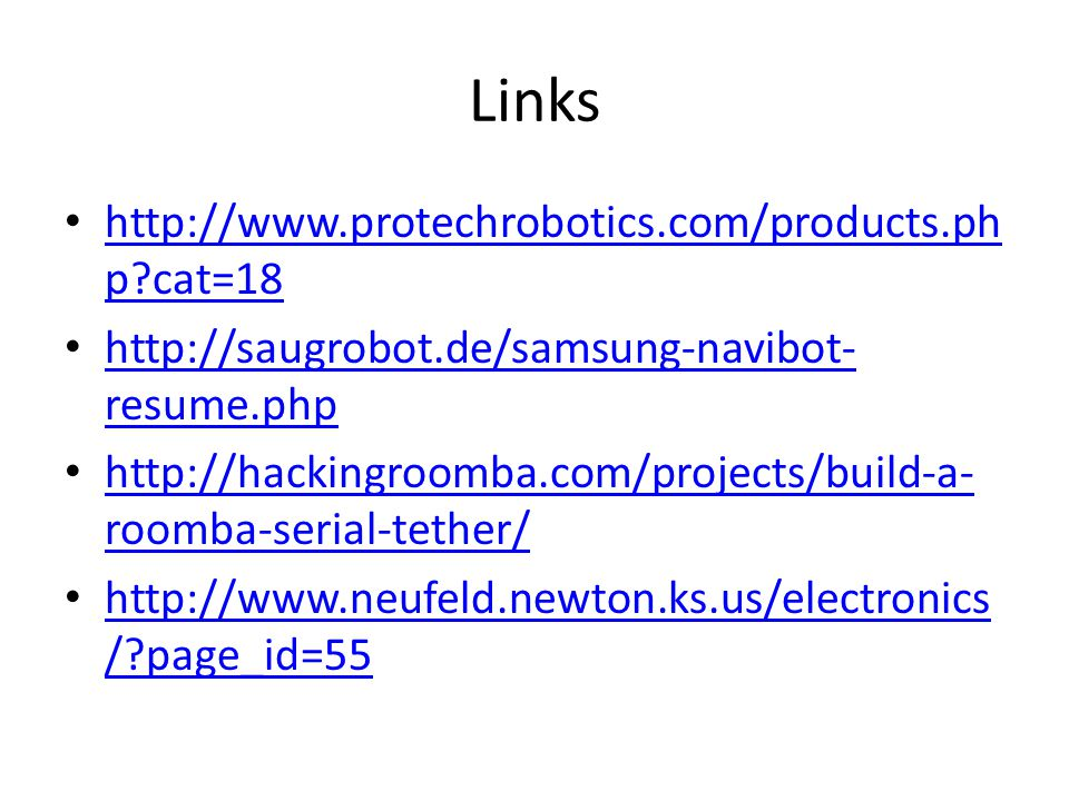 Links http://www.protechrobotics.com/products.php cat=18