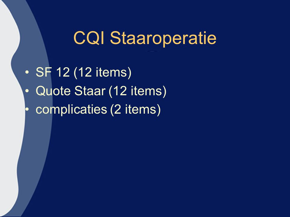 CQI Staaroperatie SF 12 (12 items) Quote Staar (12 items)