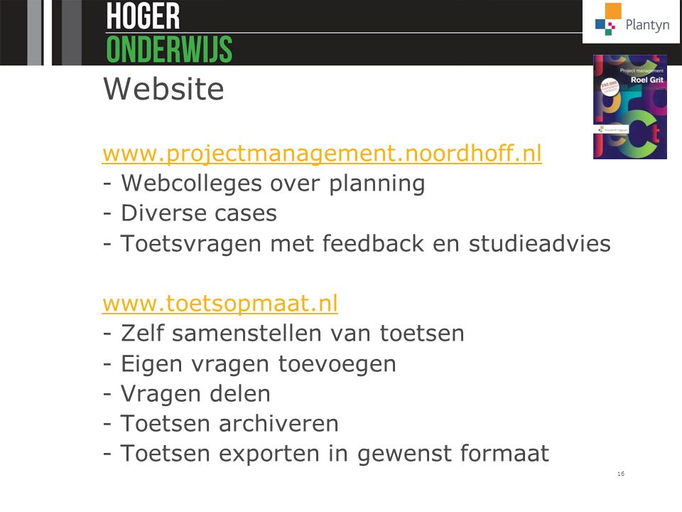Website www.projectmanagement.noordhoff.nl - Webcolleges over planning