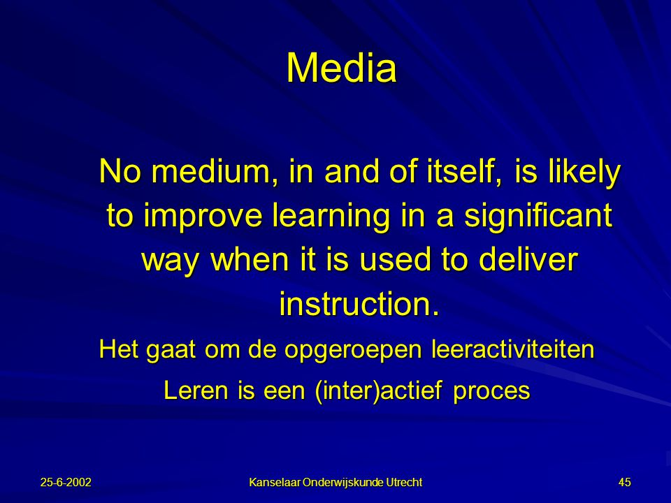 Media No medium, in and of itself, is likely to improve learning in a significant way when it is used to deliver instruction.