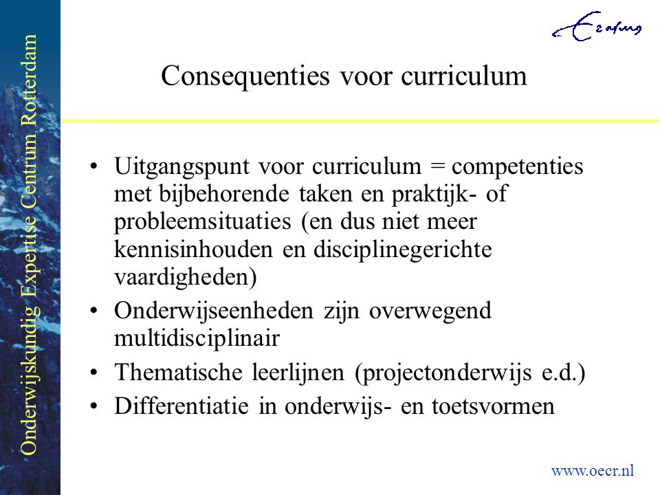 Consequenties voor curriculum