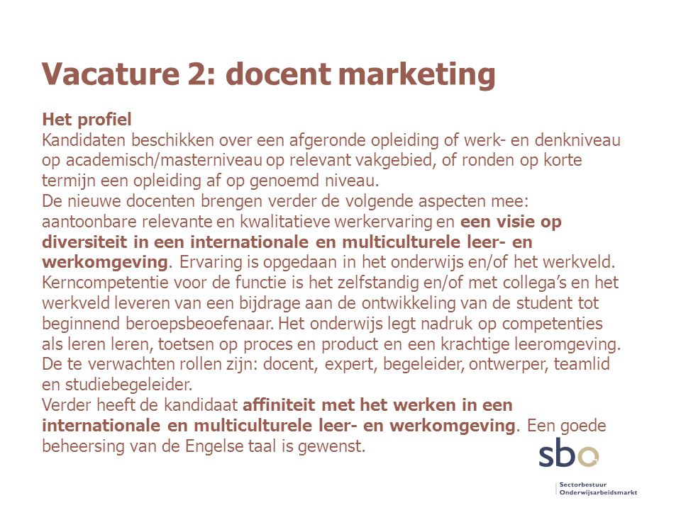 Vacature 2: docent marketing