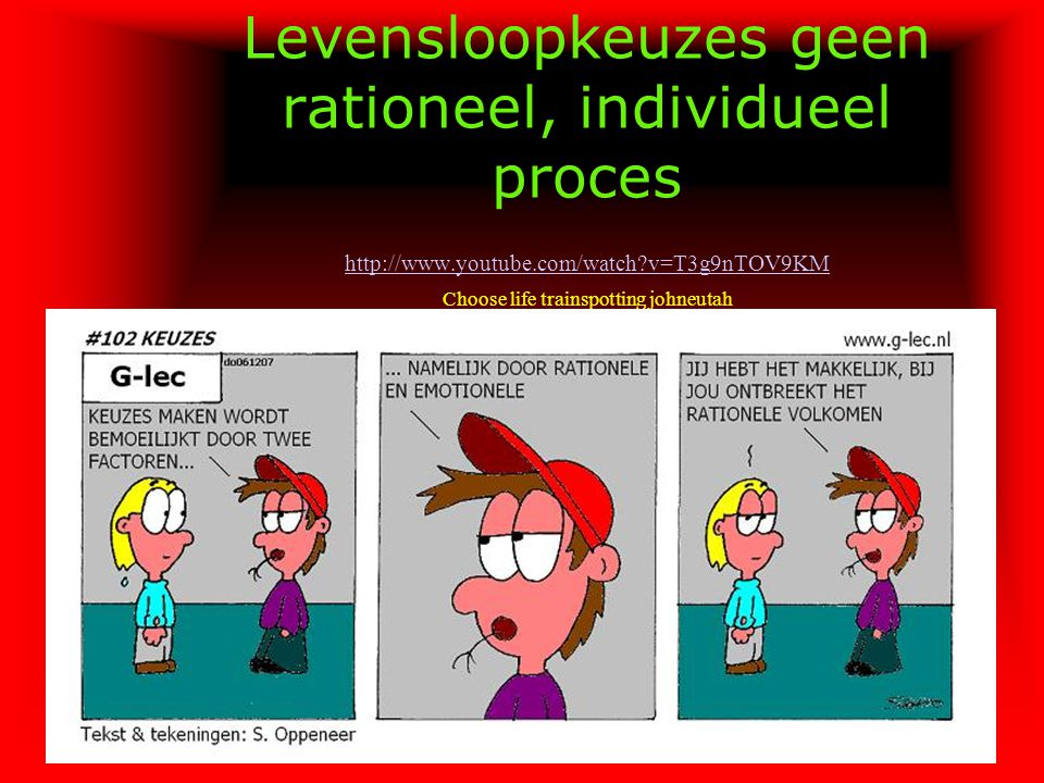 Levensloopkeuzes geen rationeel, individueel proces http://www.youtube.com/watch v=T3g9nTOV9KM Choose life trainspotting johneutah