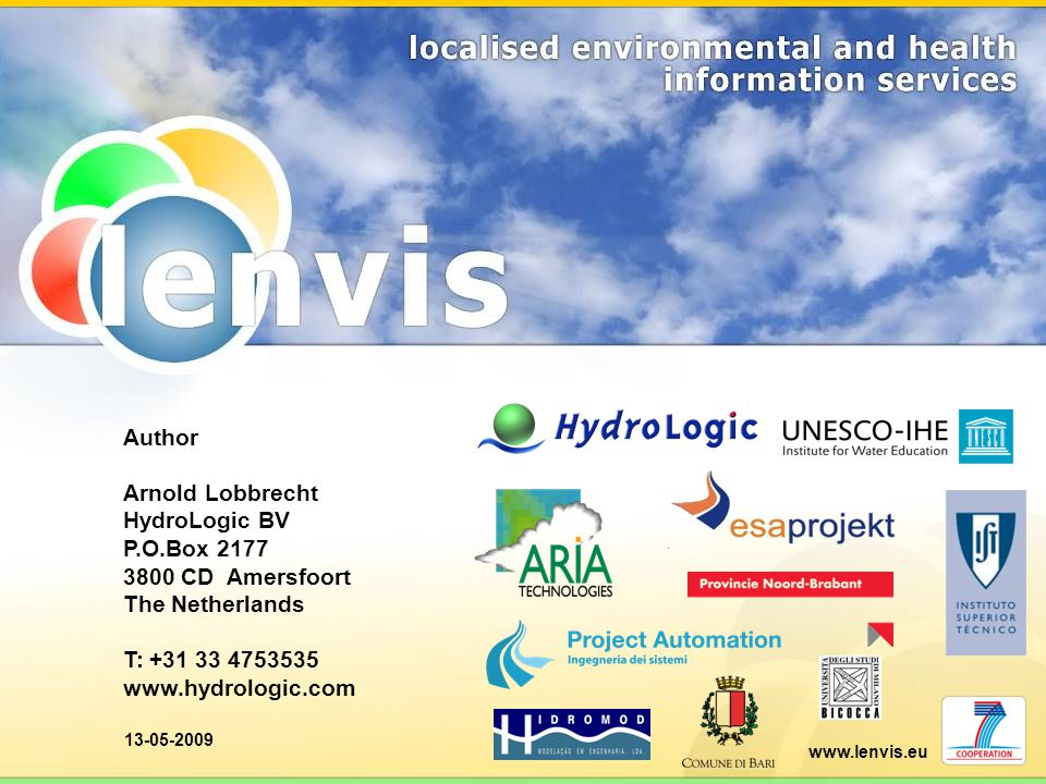 Author Arnold Lobbrecht HydroLogic BV P.O.Box 2177 3800 CD Amersfoort