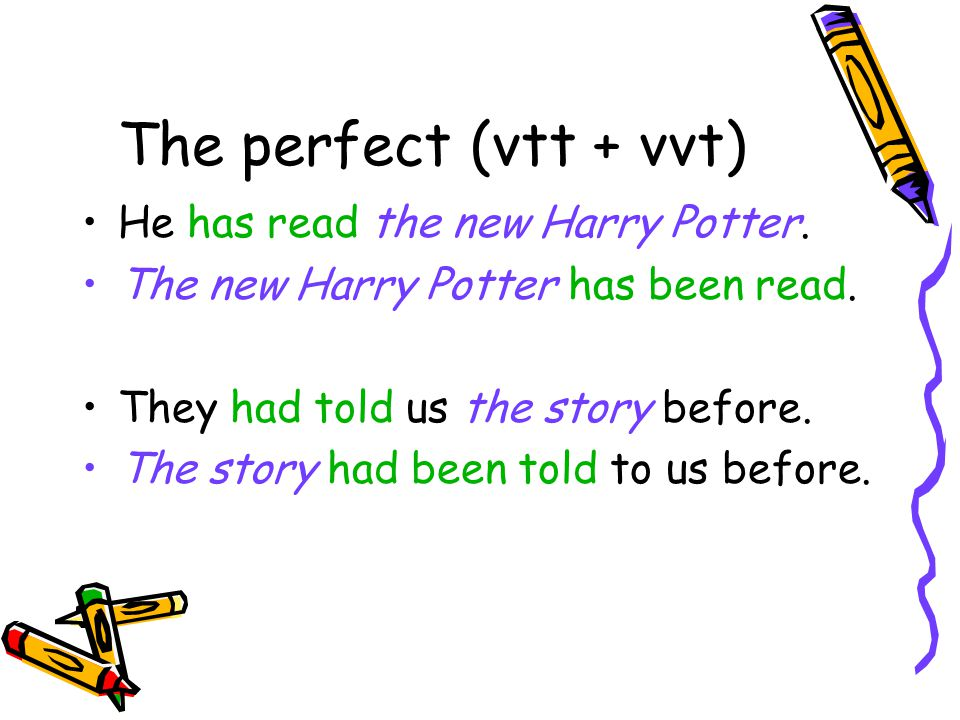 The perfect (vtt + vvt) He has read the new Harry Potter.
