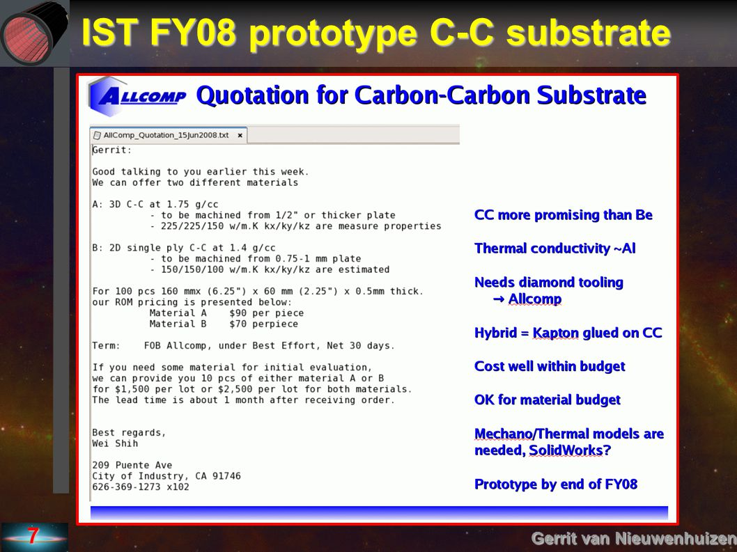 IST FY08 prototype C-C substrate